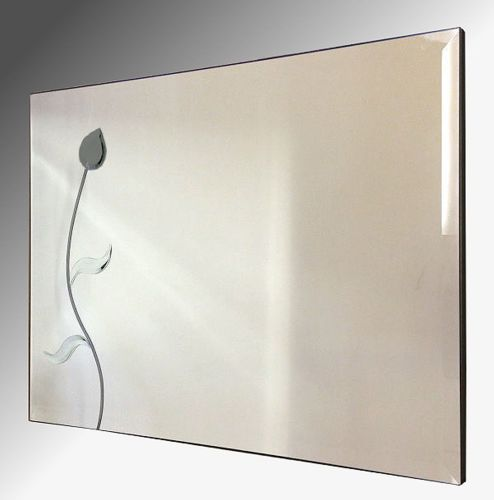 Grey Flower Wall Mirror 92x61cm Bevelled Frameless Mirror