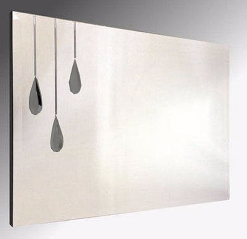 Triple Grey Droplet Bevelled Frameless Mirror. 92X61cm