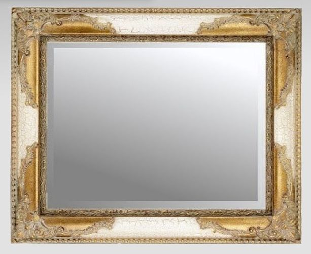 Traditional Ivory and Gilt Crackle Mirror