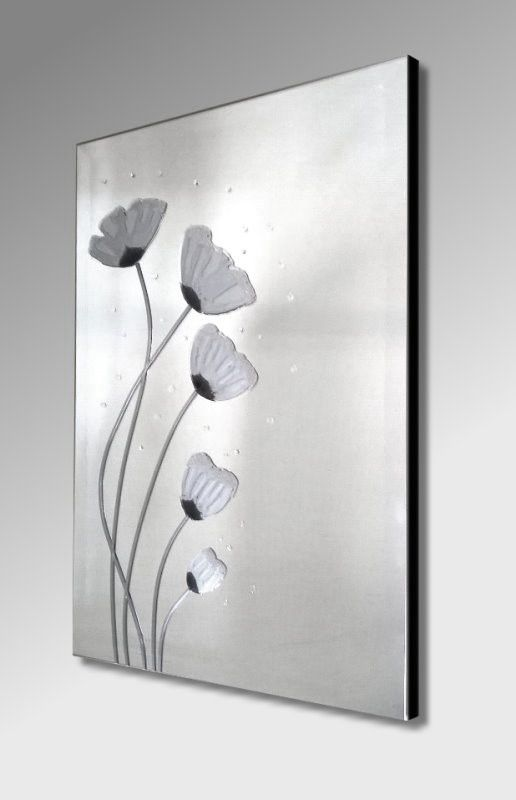 Silver Poppies Embellished Art on Mirror