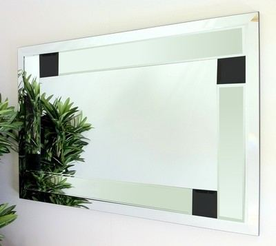 Utah Clear and Black Glass Bevelled Mirror 92X61cm