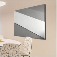 Stripe Grey Smoke & Clear Mirror. 92x61cm