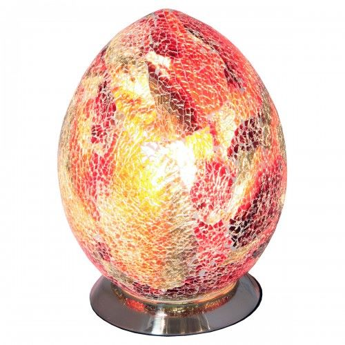 Mosaic Orange and Red Glass Egg Table Lamp