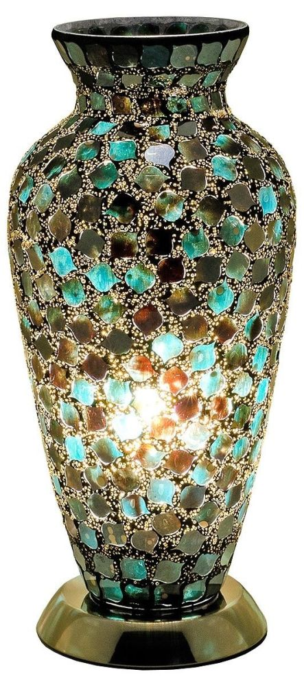 Mosaic Green Glass Vase Table Lamp