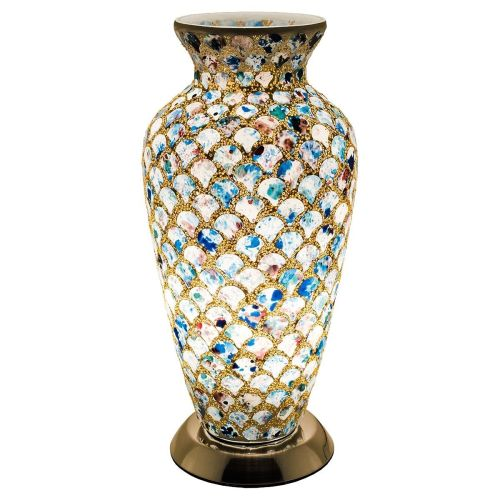 Mosaic Blue and Pink Glass Vase Table Lamp