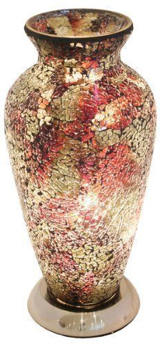 Mosaic Maroon and Gold Glass Vase Table Lamp