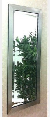 Flat Pewter Framed 12X36 Bevelled Mirror