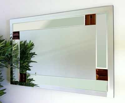 Florida Clear and Brown Glass Bevelled Mirror 92X61cm