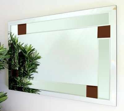 Utah Clear and Brown Glass Bevelled Mirror 92X61cm