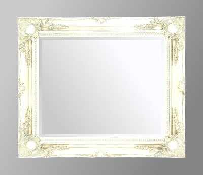 White Swept Bevelled Mirror 30X20