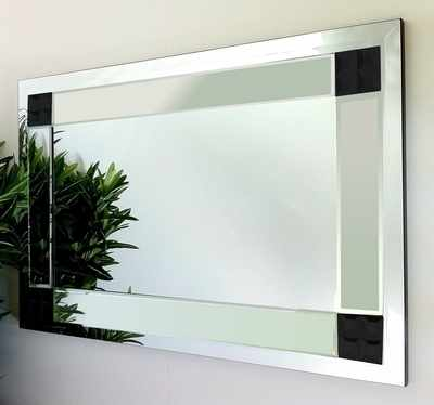 Vegas Clear and Black Glass Bevelled Mirror 92X61cm
