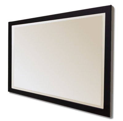 Flat Black Gloss Framed 30X20 Bevelled Mirror