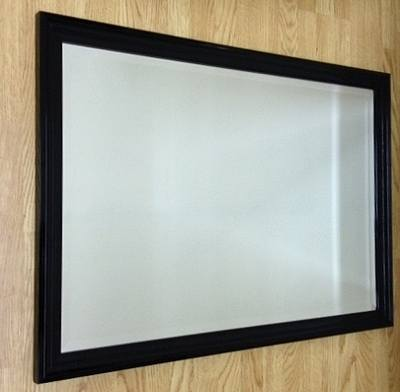 Black Gloss Ribbed 36X24 Bevelled Mirror