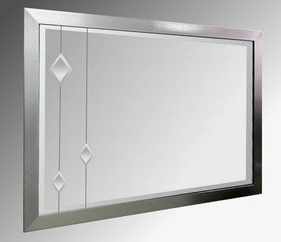 Leaded Clear Diamonds 36X24 Pewter Brushed Frame