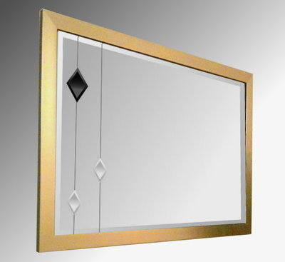 Leaded Black Diamonds 36X24 Gold Brushed Frame