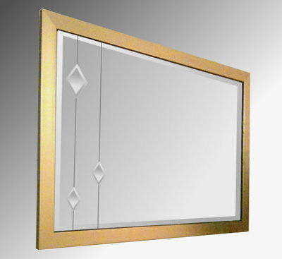 Leaded Clear Diamonds 36X24 Gold Brushed Frame