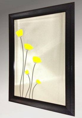 Yellow Poppies Bevelled Mirror 51X76cm