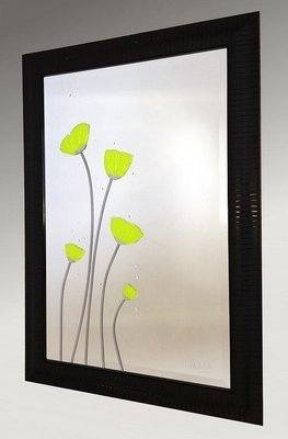 Lime Poppies Bevelled Mirror 20X30