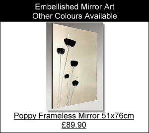 Poppies Frameless Mirror Art
