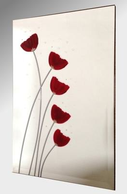 Red Poppies Frameless Mirror 51X76cm