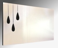 Leaded Triple Black Droplet Bevelled Frameless Mirror. 122X61cm