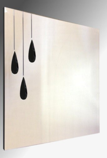 Leaded Triple Black Droplet Square Bevelled Mirror. 61X61cm