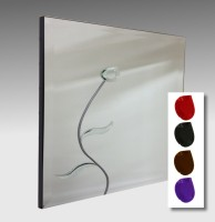 Leaded Flower Square Bevelled Mirror. 61X61cm With Colour Option