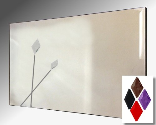Twin Spear Design Bevelled Frameless Mirror 122X61cm With Colour Option