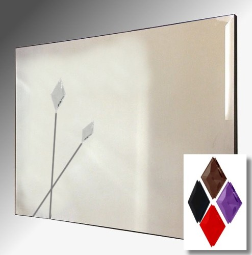Twin Spear Design Bevelled Frameless Mirror 92X61cm With Colour Option