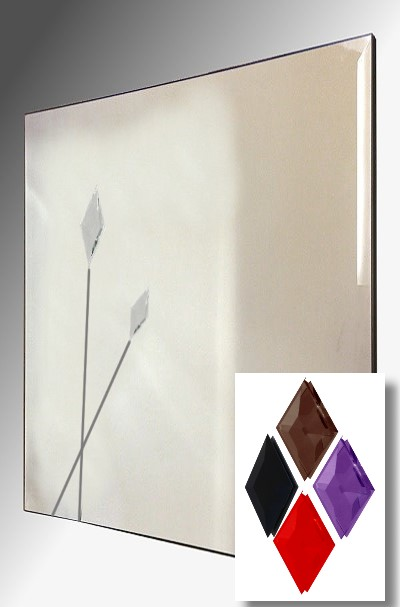 Twin Spears Design Square Bevelled Frameless Mirror 61X61cm With Colour Opt