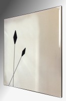 Twin Black Spears Design Square Bevelled Frameless Mirror 61X61cm