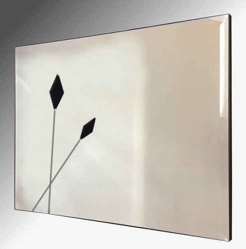 Twin Black Spears Design Bevelled Frameless Mirror 92X61cm