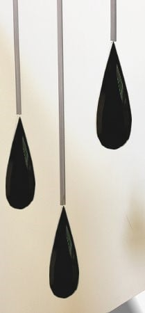 Leaded Triple Droplet Detail Black Glass