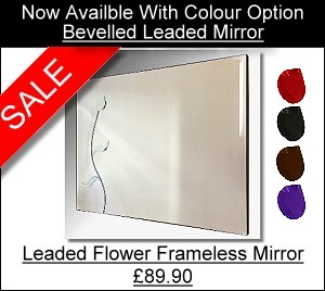 Flower Wall Mirror.  Leaded Flower Frameless Mirror