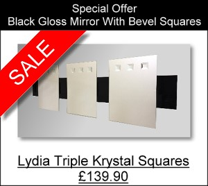Lydia triple Krystal Squares Black Gloss mirror with three mirror panels mounted on a long black gloss frame.  Overall size.132X41cm.
