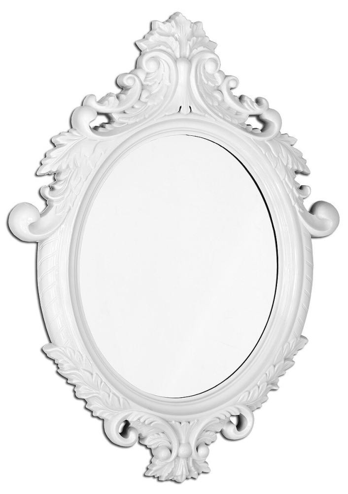 Anton Oval Ornate White Mirror