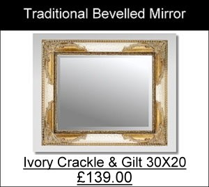 ivory crackle Gilt 30X20 Traditional Mirror