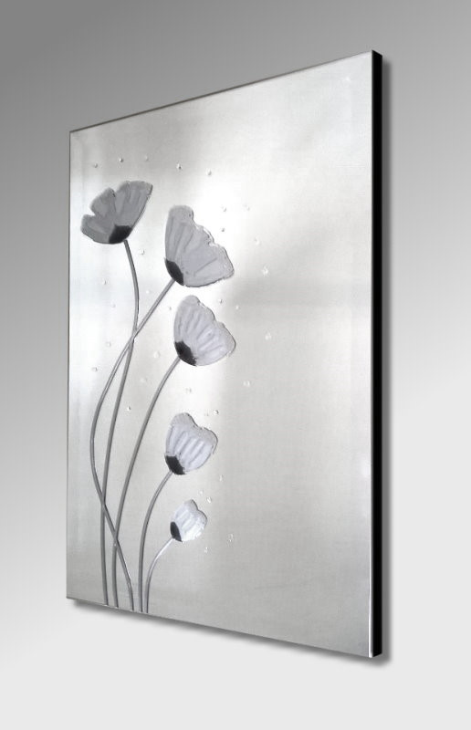 Silver Poppies Frameless Mirror 51X76cm