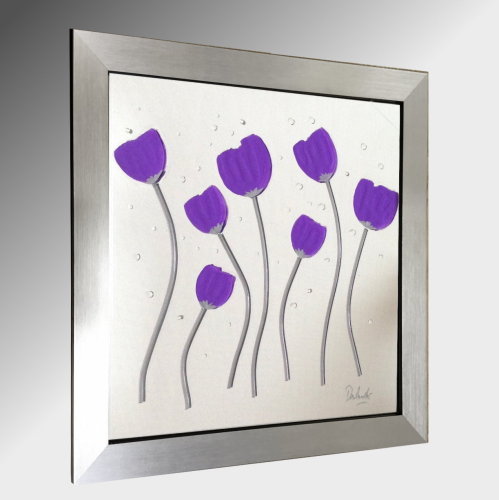 Purple Poppies Embellished Glass Art.