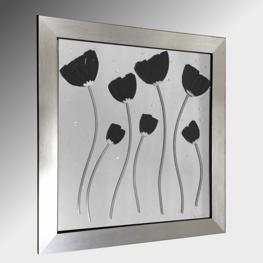 Black Poppies Embellished Glass Art.