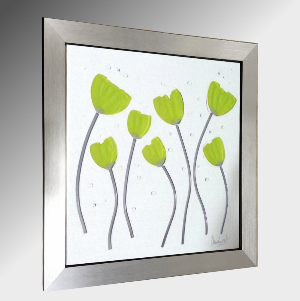 Lime Poppies Embellished Glass Art.