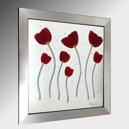 Red Poppies Embellished Glass Art.