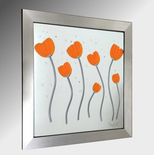 Orange Poppies Embellished Glass Art.