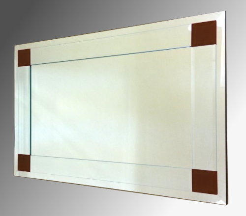 Boston Clear and Brown Glass Bevelled Mirror 122X61cm