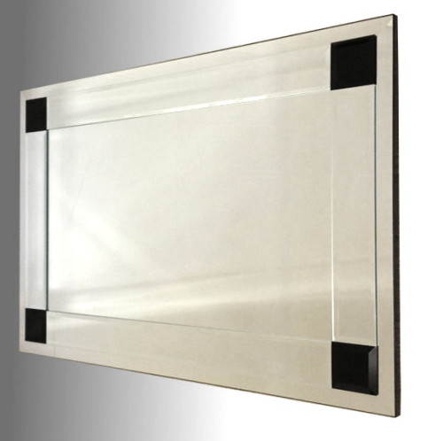 Boston Clear and Black Glass Bevelled Mirror 122X61cm