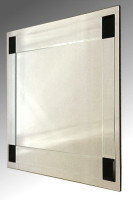 Boston Clear and Black Glass Square Bevelled Mirror 61X61cm
