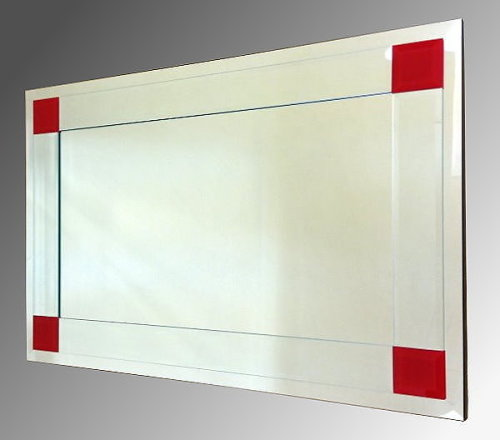 Boston Clear and Red Glass Bevelled Mirror 92X61cm