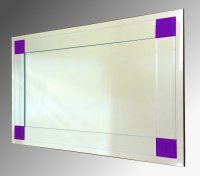 Boston Clear and Purple Glass Bevelled Mirror 92X61cm