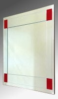 Boston Clear and Red Glass Square Bevelled Mirror 61X61cm