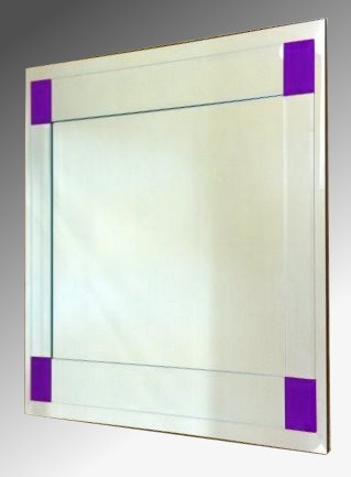 Boston Clear and Purple Glass Square Bevelled Mirror 61X61cm